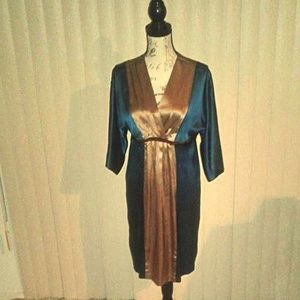 Miss Me 100% Silk Teal & Gold Retro-Style Dress M